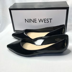 Nine West Saige Black Patent Open Side Flats